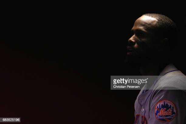 Jose Reyes of the New York Mets watches from the dugout during sixth inning of the MLB game against the Arizona Diamondbacks at Chase Field on May 15...