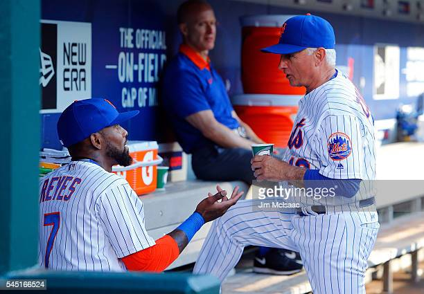 Jose Reyes of the New York Mets with manager Terry Collins before a game against the Miami Marlins at Citi Field on July 5 2016 in the Flushing...