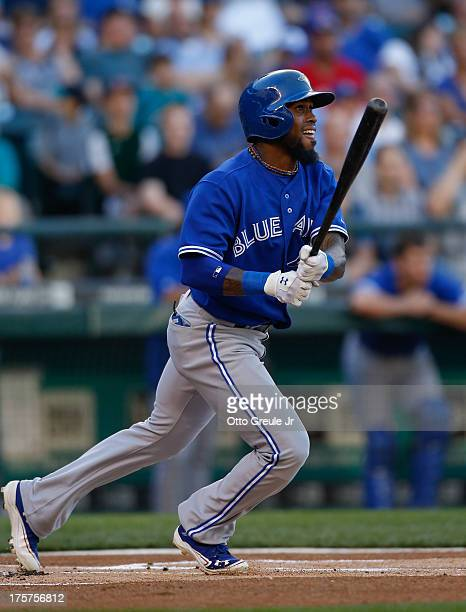 Jose Reyes of the Toronto Blue Jays hits a home run on the first pitch of the game against the Seattle Mariners at Safeco Field on August 6 2013 in...