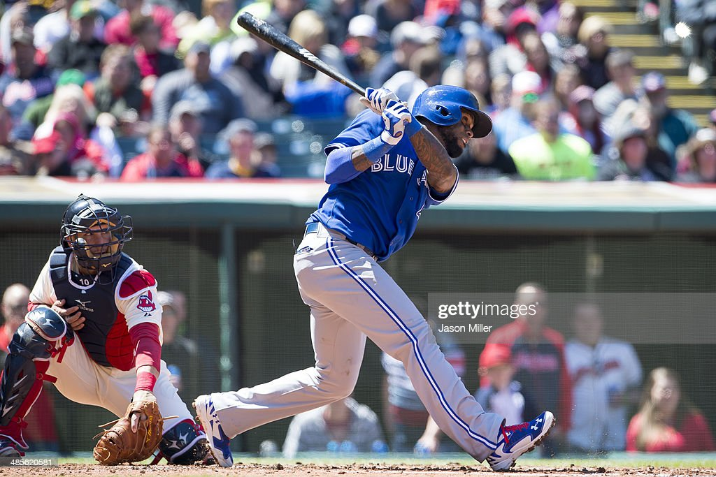 Jose Reyes #7 of the Toronto Blue Jays hits an RBI single during the second inning against the Cleveland Indians at Progressive Field on April 19, 2014 in Cleveland, Ohio.
