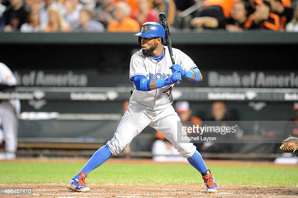 Jose Reyes of the Toronto Blue Jays prepares for a pitch during a baseball game against the Baltimore Orioles on September 16 2014 at Oriole Park at...