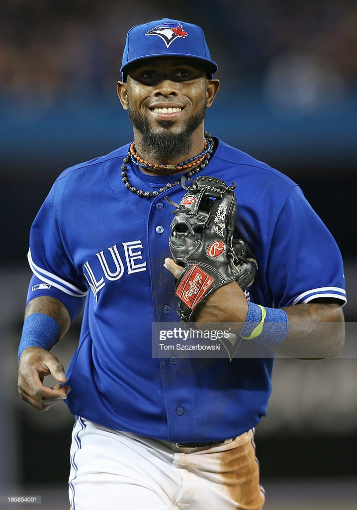 Jose Reyes #7 of the Toronto Blue Jays reacts after making a play in the second inning during MLB game action against the Boston Red Sox on April 6, 2013 at Rogers Centre in Toronto, Ontario, Canada.