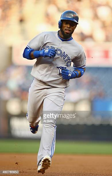 Jose Reyes of the Toronto Blue Jays rounds the bases afer hitting a home run against the New York Yankees during their game at Yankee Stadium on June...