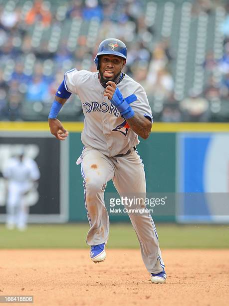 Jose Reyes of the Toronto Blue Jays runs the bases during the game against the Detroit Tigers at Comerica Park on April 9 2013 in Detroit Michigan...