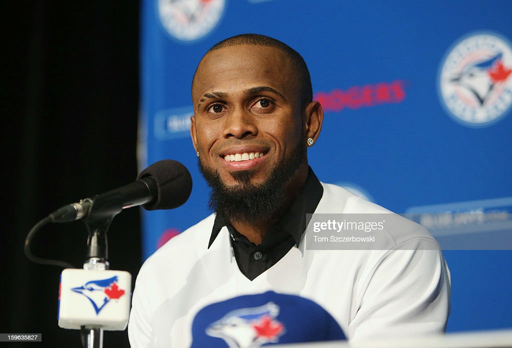 Jose Reyes #7 of the Toronto Blue Jays smiles as he is introduced at a press conference at Rogers Centre on January 17, 2013 in Toronto, Ontario.