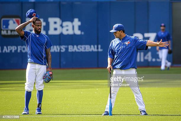 TORONTO ON MAY 8 Jose Reyes of the Toronto Blue Jays takes ground balls today during batting practice before the game between the Toronto Blue Jays...