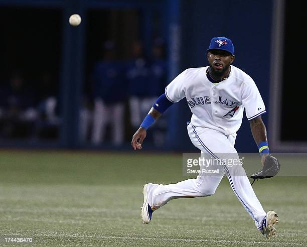 TORONTO ON JULY 25 Jose Reyes tracks down a weak infield ball to record an out during the eighth inning as the Toronto Blue Jays beat the Houston...