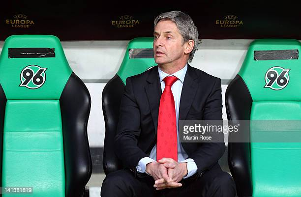 Jose Riga, head coach of Liege looks on before the UEFA Europa League second leg round of 16 match between Hannover 96 and Standard Liege at AWD...