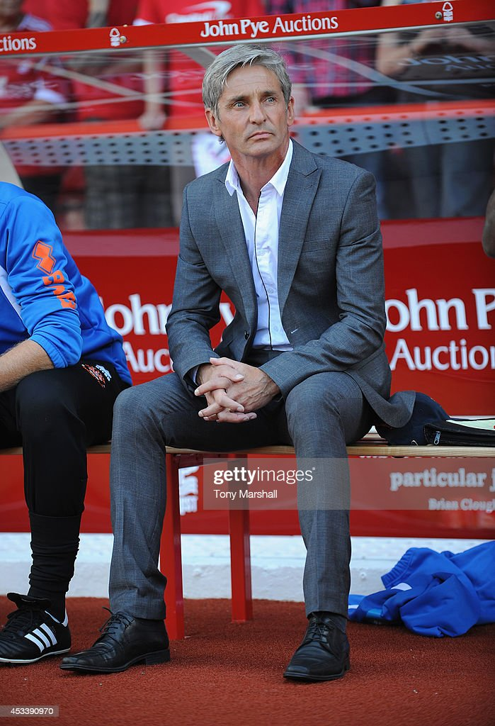 jose Riga, Manager of Blackpool sits on the bench during the Sky Bet Championship match between Nottingham Forest and Blackpool at City Ground on August 9, 2014 in Nottingham, England.