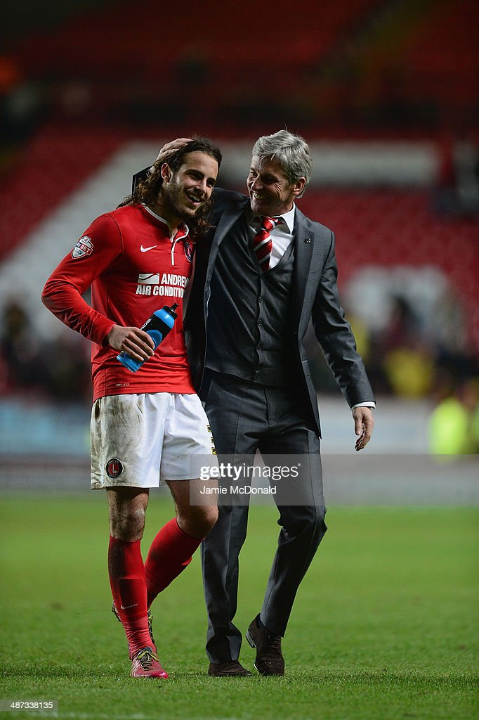 Jose Riga of Charlton celebrates victory during the Sky Bet Championship match between Charlton Athletic and Watford at The Valley on April 29, 2014 in London, England.