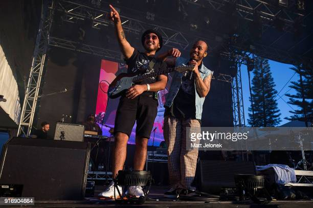Jose Rios of The Free Nationals and Anderson Paak perform on stage at St Jerome's Laneway Festival on February 11 2018 in Fremantle Australia