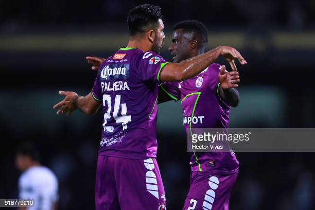 Jose Rivas and Christian Ramos of Veracruz celebrate after the 7th round match between Pumas UNAM and Veracruz as part of the Torneo Clausura 2018...
