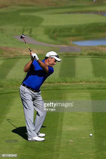 Jose Rivero of Spain in action during the first round of the Paris Legends Championship played on L'Albatros course at Le Golf National on September...