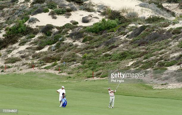 Jose Rivero of Spain plays his second shot to the 10th hole during the second round of the Estoril Seniors Open played at the Quinta da Marinha...