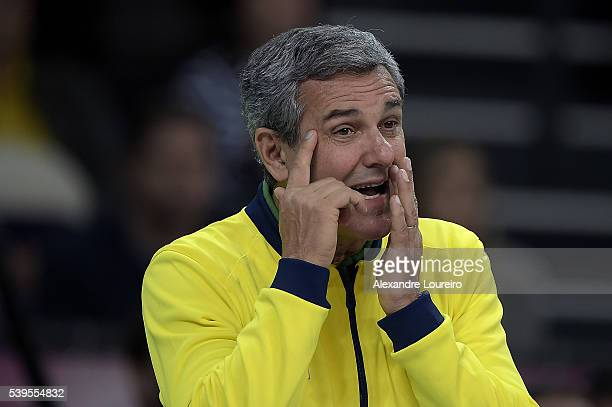Jose Roberto Guimaraes Head Coach of Brazil reacts during the match between Brazil and Serbia on day 3 the FIVB Volleyball World Grand Prix at...