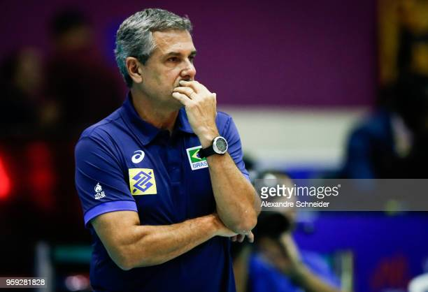 Jose Roberto Guimaraes headcoach of Brazil in action during the match against Japan during the FIVB Volleyball Nations League 2018 at Jose Correa...