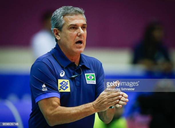 Jose Roberto Guimaraes of Brazil in action during the match against Serbia during the FIVB Volleyball Nations League 2018 at Jose Correa Gymnasium on...