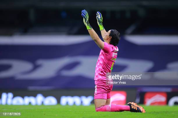 Jose Rodriguez of Chivas gestures during the 14th round match between Cruz Azul and Chivas as part of the Torneo Guard1anes 2021 Liga MX at Azteca...