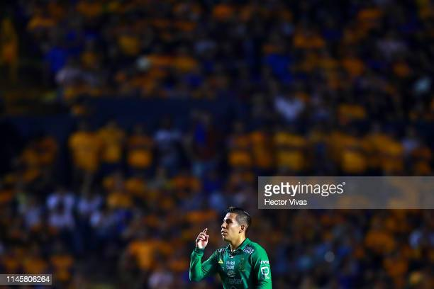 Jose Rodriguez of Leon reacts during the Final first leg match between Tigres UANL and Leon as part of the Torneo Clausura 2019 Liga MX at...