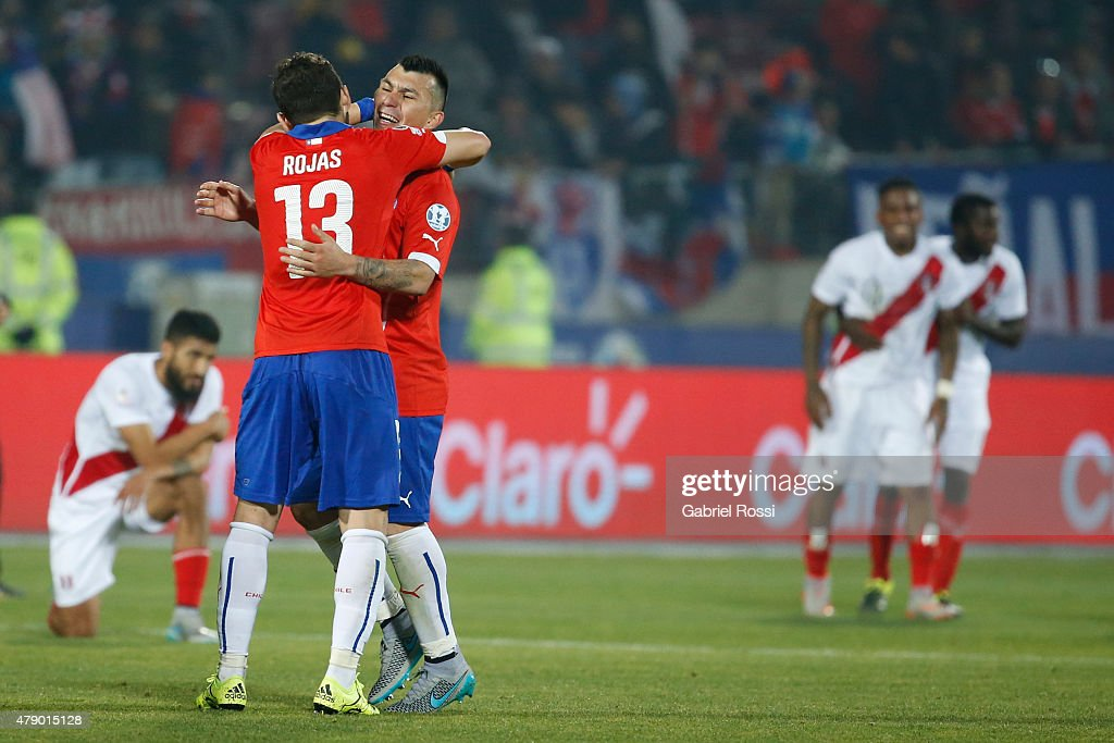 Jose Rojas and Gary Medel of Chile celebrate after the 2015 Copa America Chile Semi Final match between Chile and Peru at Nacional Stadium on June 29, 2015 in Santiago, Chile.