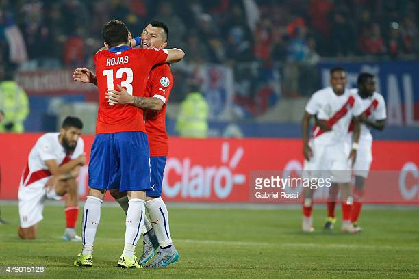 Jose Rojas and Gary Medel of Chile celebrate after the 2015 Copa America Chile Semi Final match between Chile and Peru at Nacional Stadium on June 29...