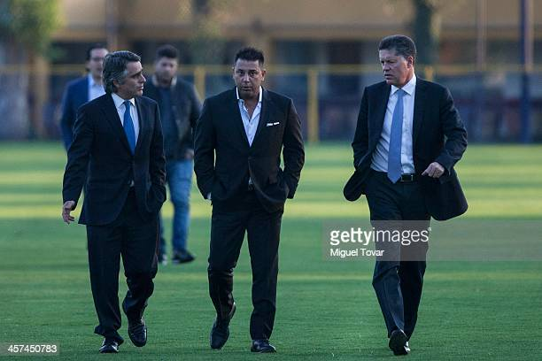 Jose Romano president of America Futbol Club Argentinian coach Antonio Mohamed and Ricardo Pelaez sports President of America arrive to a press...