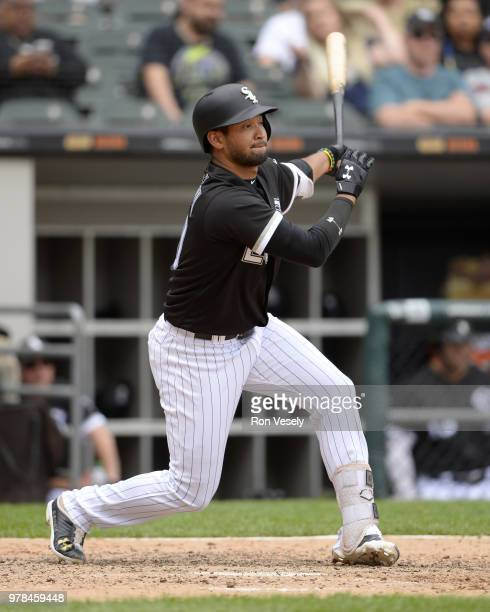 Jose Rondon of the Chicago White Sox bats against the Cleveland Indians on June 14 2018 at Guaranteed Rate Field in Chicago Illinois