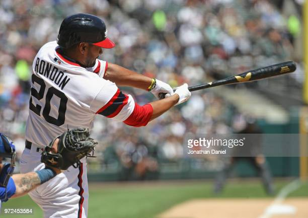 Jose Rondon of the Chicago White Sox bats against the Milwaukee Brewers at Guaranteed Rate Field on June 3 2018 in Chicago Illinois The White Sox...