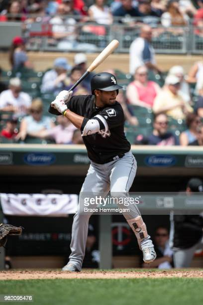 Jose Rondon of the Chicago White Sox bats against the Minnesota Twins on June 7 2018 at Target Field in Minneapolis Minnesota The Twins defeated the...