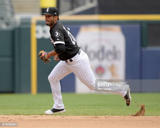 Jose Rondon of the Chicago White Sox fields against the Cleveland Indians on June 14 2018 at Guaranteed Rate Field in Chicago Illinois