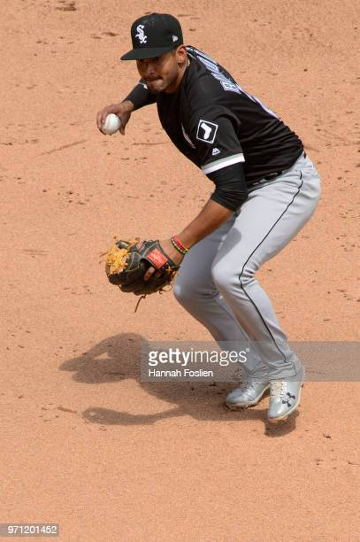 Jose Rondon of the Chicago White Sox makes a play at shortstop against the Minnesota Twins during the game on June 7 2018 at Target Field in...