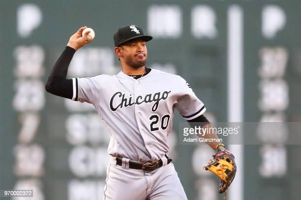 Jose Rondon of the Chicago White Sox throws to first base in the second inning of a game against the Boston Red Sox at Fenway Park on June 08 2018 in...