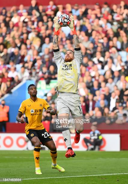 Jose Sa of Wolverhampton Wanderers gathers a cross during the Premier League match between Aston Villa and Wolverhampton Wanderers at Villa Park on...