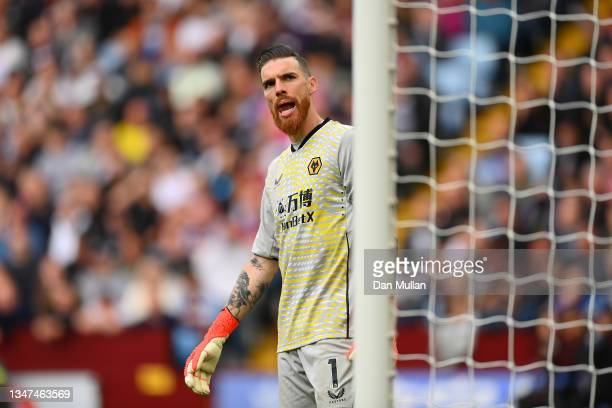 Jose Sa of Wolverhampton Wanderers looks on during the Premier League match between Aston Villa and Wolverhampton Wanderers at Villa Park on October...