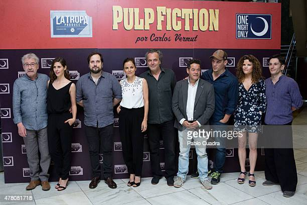Jose Sacristan Barbara SantaCruz Carlos Vermut Elena Anaya Jose Coronado Jorge Sanz and Sergio PerisMencheta attend the 'One Night Only Pulp Fiction'...