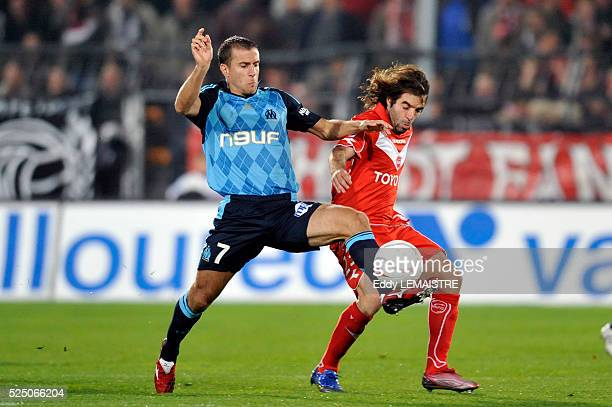 Jose Saez and Benoit Cheyrou during the French Ligue 1 soccer match between Valenciennes FC vs Olympique de Marseille