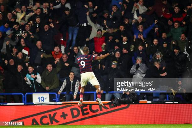 Jose Salomon Rondón of Newcastle United celebrates after scoring a goal to make it 01 during the Premier League match between Huddersfield Town and...