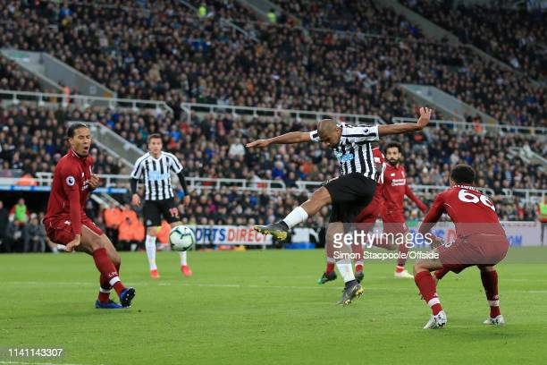 Jose Salomon Rondon of Newcastle scores their 2nd goal during the Premier League match between Newcastle United and Liverpool at St James' Park on...