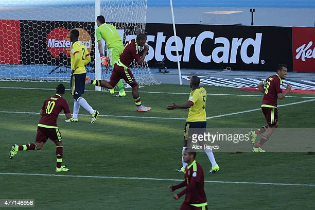 Jose Salomon Rondon of Venezuela celebrates after scoring the opening goal during the 2015 Copa America Chile Group C match between Colombia and...