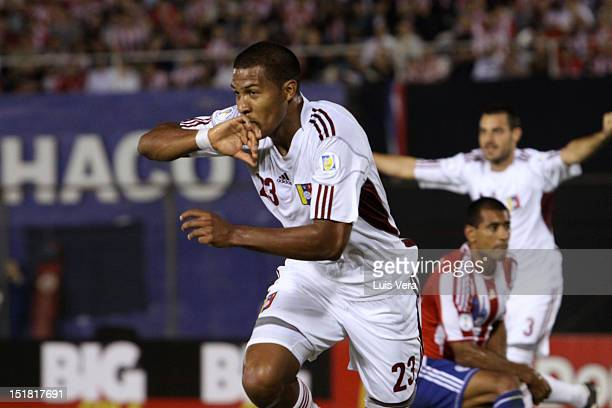 Jose Salomon Rondon of Venezuela celebrates during a match between Paraguay and Venezuela as part of the South American Qualifiers for the FIFA...