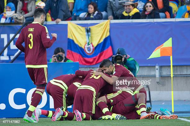 Jose Salomon Rondon of Venezuela celebrates with teammates after scoring the opening goal during the 2015 Copa America Chile Group C match between...