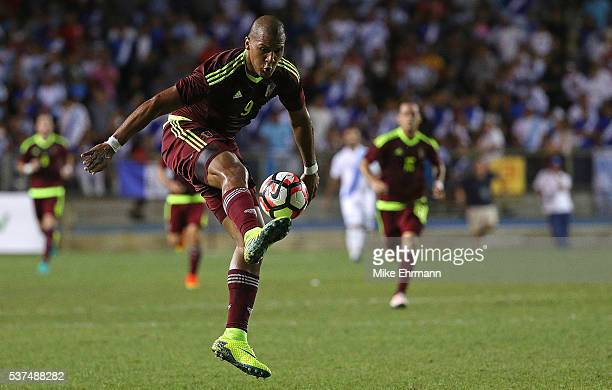 Jose Salomon Rondon of Venezuela passes during a game against Guatamala at Lockhart Stadium on June 1 2016 in Boca Raton Florida