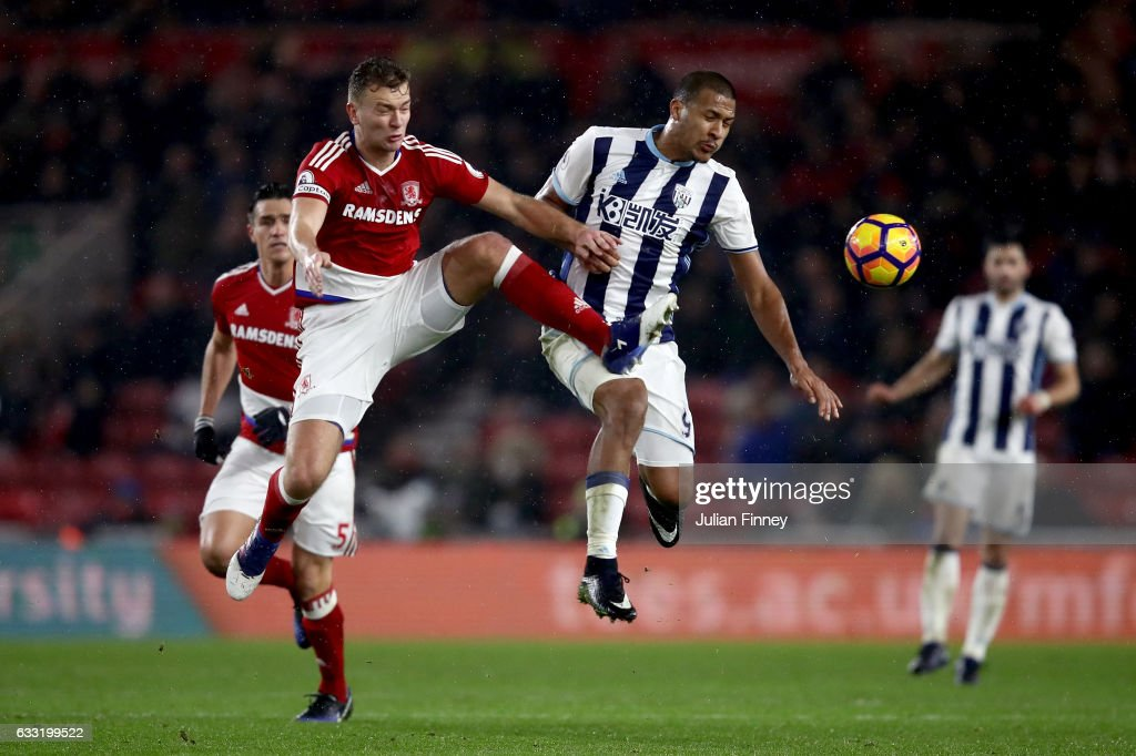 Jose Salomon Rondon of West Bromwich Albion and Ben Gibson of Middlesbrough compete for the ball during the Premier League match between Middlesbrough and West Bromwich Albion at Riverside Stadium on January 31, 2017 in Middlesbrough, England.
