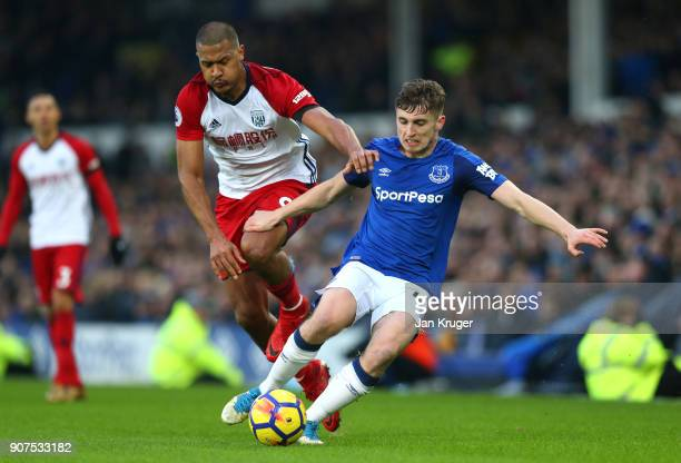 Jose Salomon Rondon of West Bromwich Albion and Jonjoe Kenny of Everton battle for the ball during the Premier League match between Everton and West...