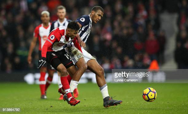 Jose Salomon Rondon of West Bromwich Albion and Sofia Boufal of Southampton during the Premier League match between West Bromwich Albion and...