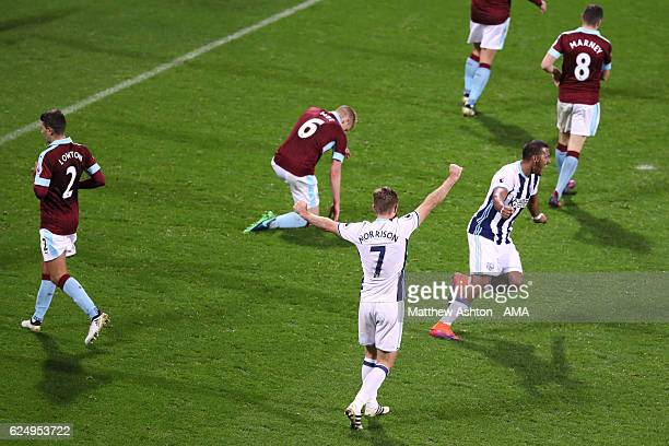 Jose Salomon Rondon of West Bromwich Albion celebrates after scoring a goal to make it 40 during the Premier League match between West Bromwich...