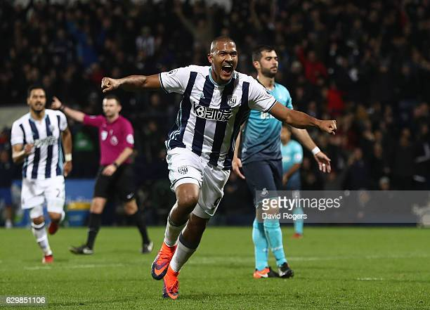 Jose Salomon Rondon of West Bromwich Albion celebrates scoring his team's third goal and hat trick goal during the Premier League match between West...