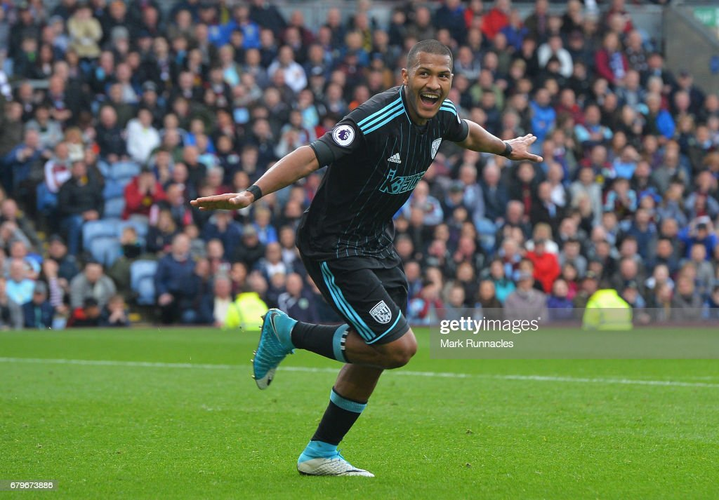 Jose Salomon Rondon of West Bromwich Albion celebrates scoring his sides first goal during the Premier League match between Burnley and West Bromwich Albion at Turf Moor on May 6, 2017 in Burnley, England.