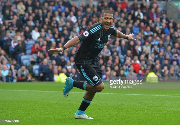 Jose Salomon Rondon of West Bromwich Albion celebrates scoring his sides first goal during the Premier League match between Burnley and West Bromwich...