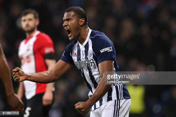 Jose Salomon Rondon of West Bromwich Albion celebrates scoring his sides second goal during the Premier League match between West Bromwich Albion and...